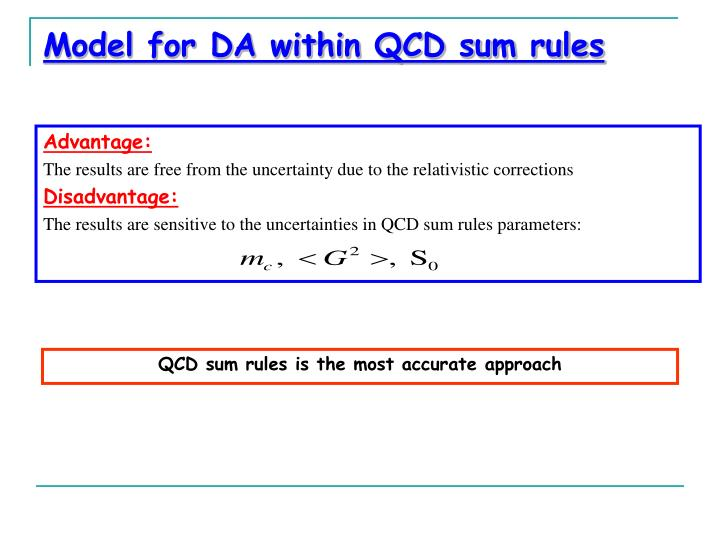Model for DA within QCD sum rules