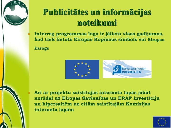 Publicitātes un informācijas noteikumi