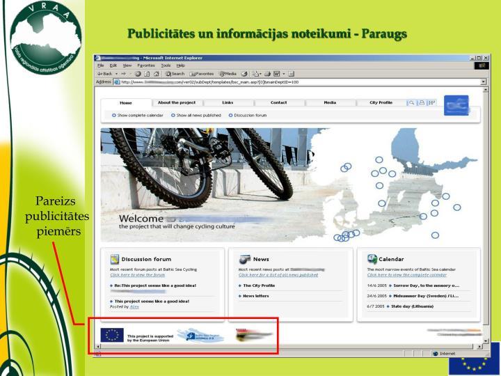 Publicitātes un informācijas noteikumi - Paraugs