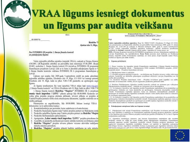 VRAA lūgums iesniegt dokumentus un līgums par audita veikšanu