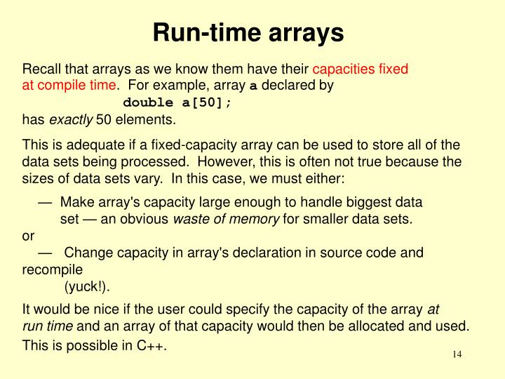 Run-time arrays