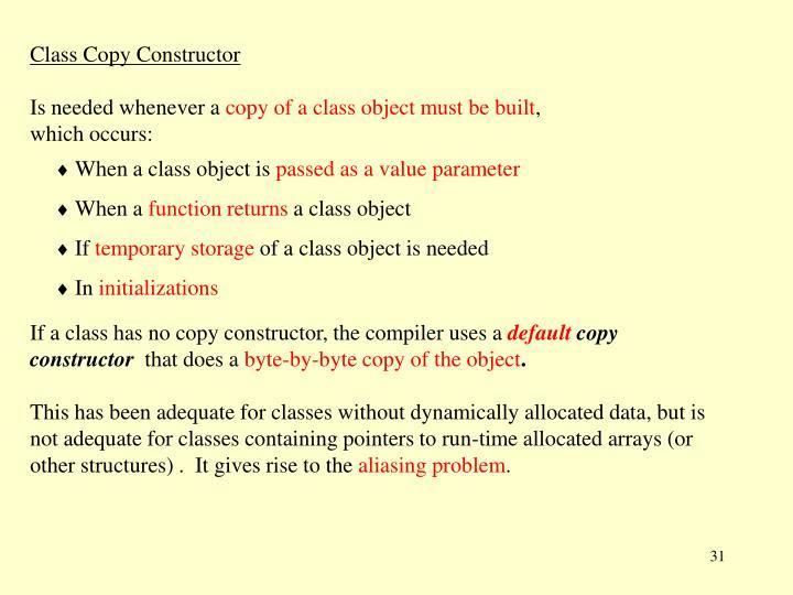 Class Copy Constructor
