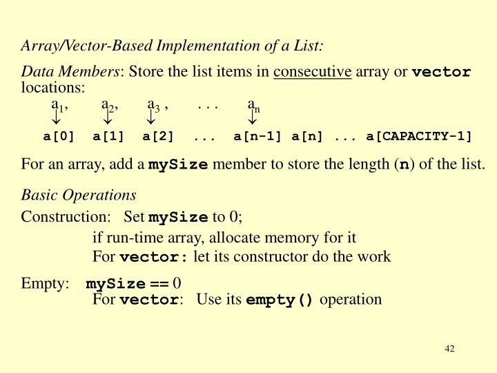 Array/Vector-Based Implementation of a List: