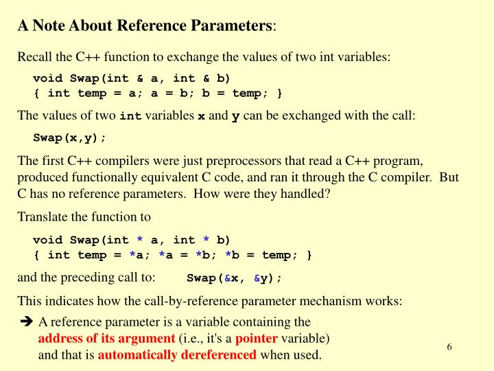 A Note About Reference Parameters