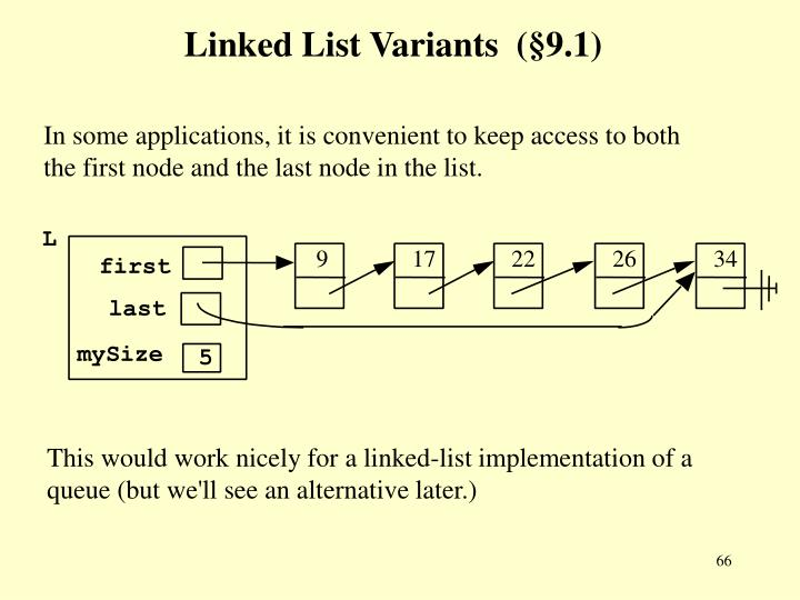 Linked List Variants  (§9.1)