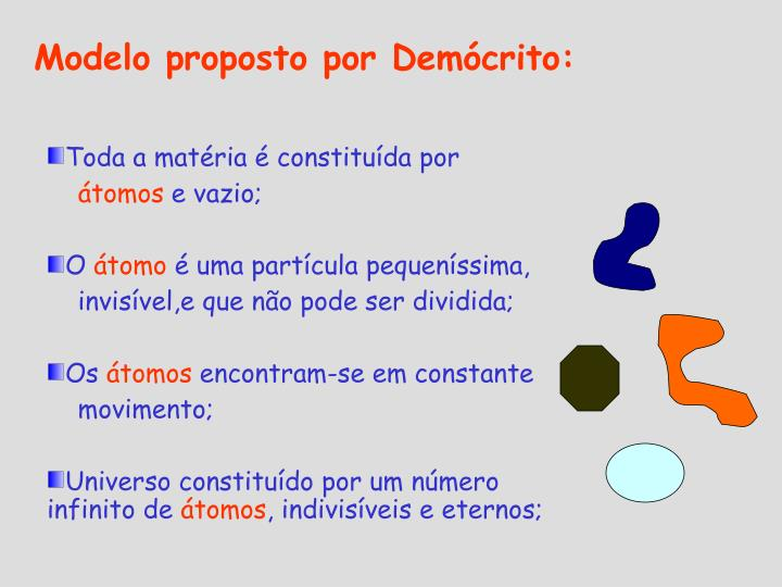 Modelo proposto por Demócrito: