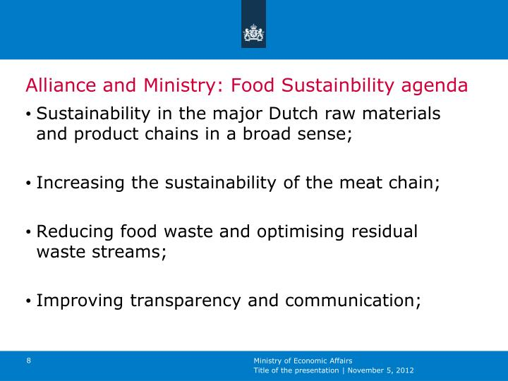 Alliance and Ministry: Food Sustainbility agenda