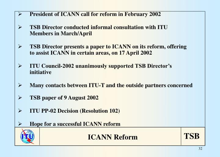 President of ICANN call for reform in February 2002