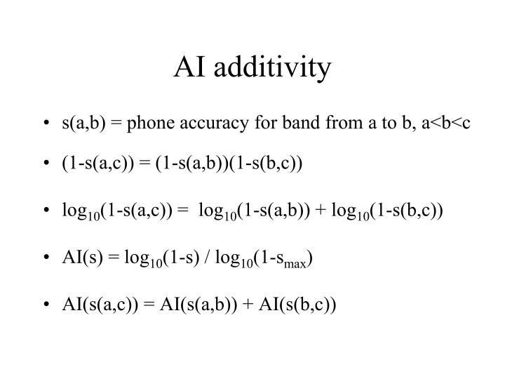 AI additivity