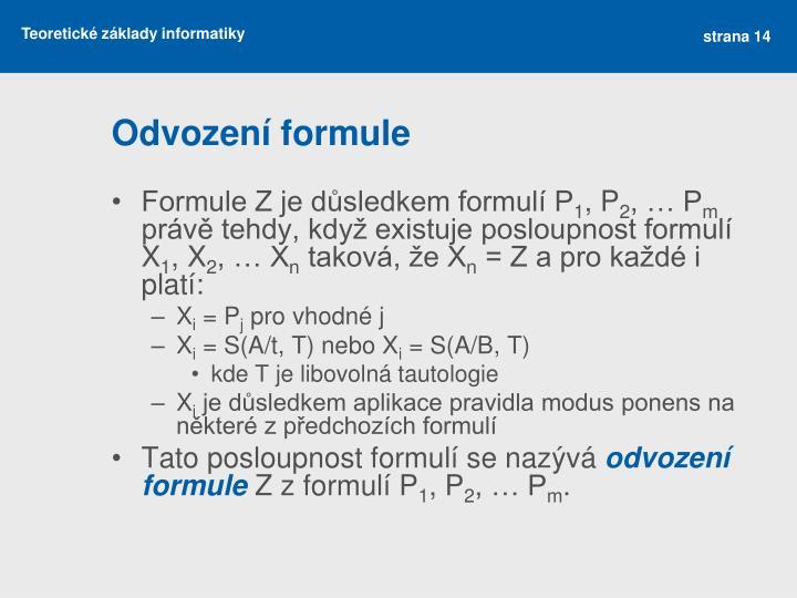 Odvození formule