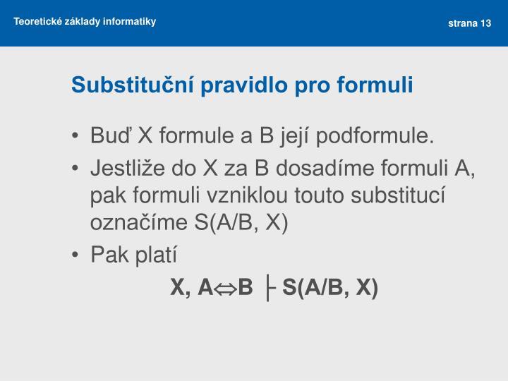 Substituční pravidlo pro formuli