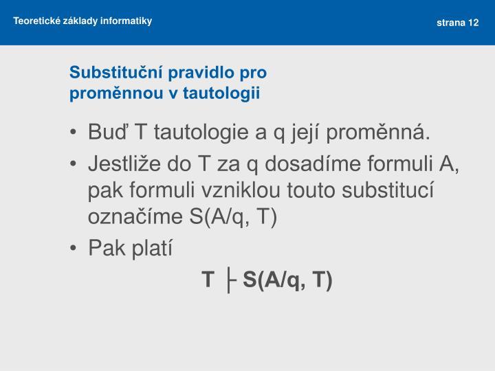 Substituční pravidlo pro