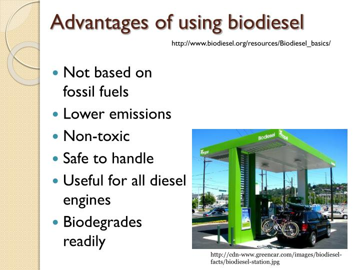 Advantages of using biodiesel
