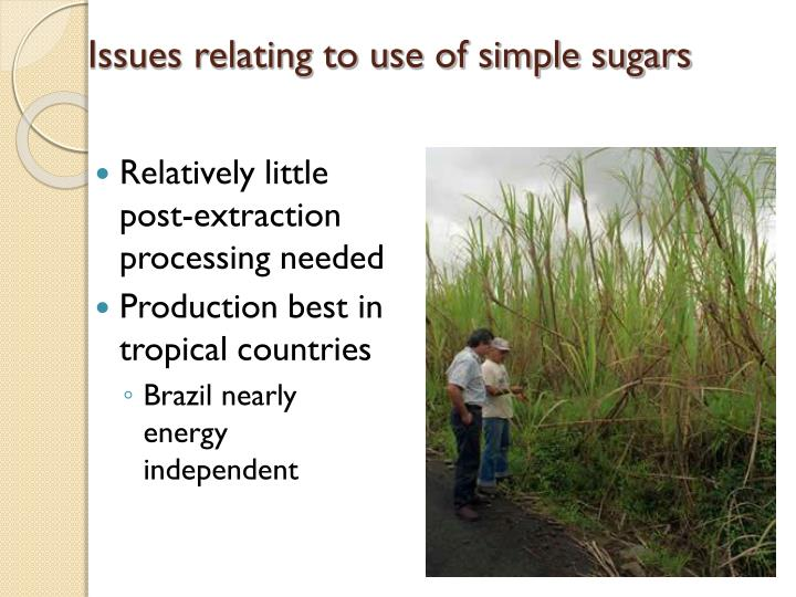 Issues relating to use of simple sugars