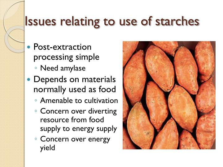 Issues relating to use of starches