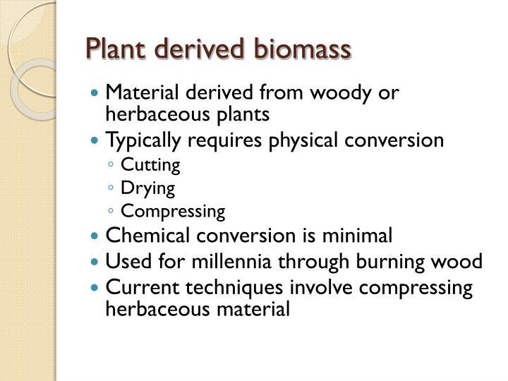 Plant derived biomass