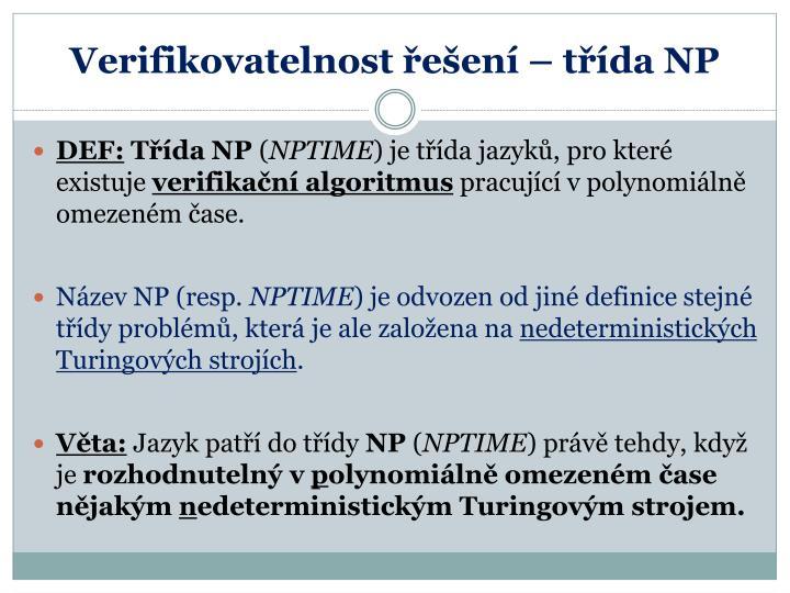 Verifikovatelnost řešení – třída NP