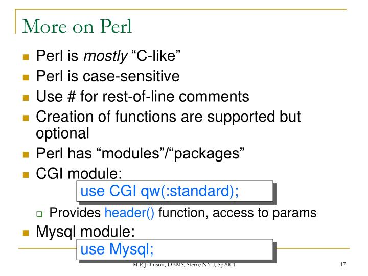 More on Perl