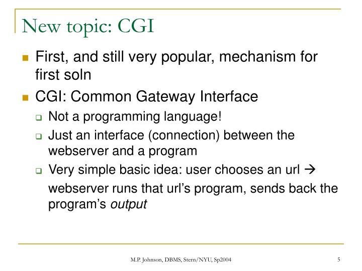 New topic: CGI
