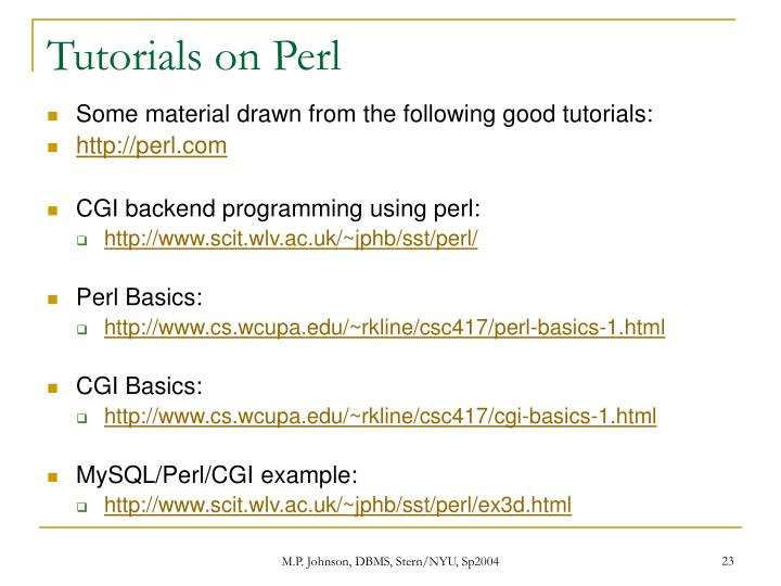Tutorials on Perl