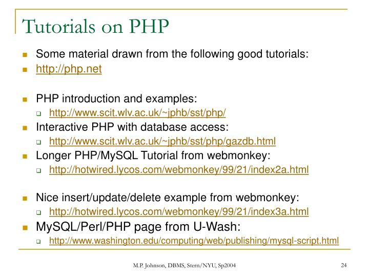 Tutorials on PHP