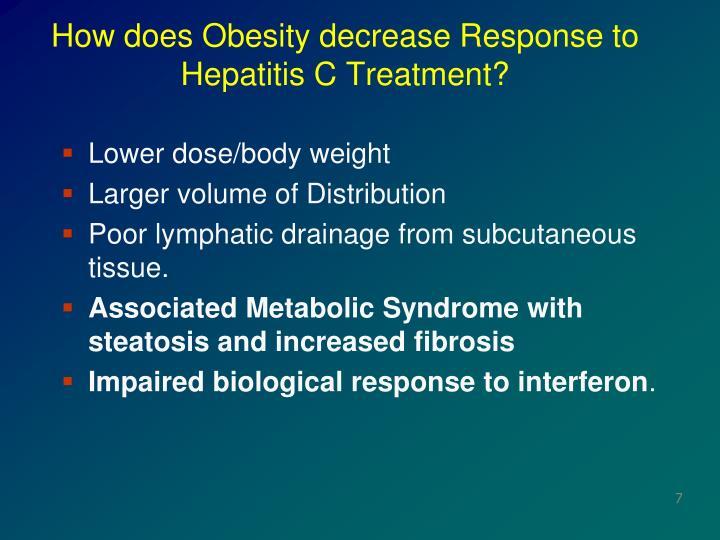 How does Obesity decrease Response to Hepatitis C Treatment?