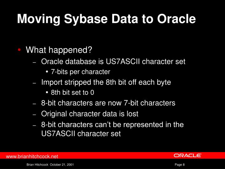 Moving Sybase Data to Oracle