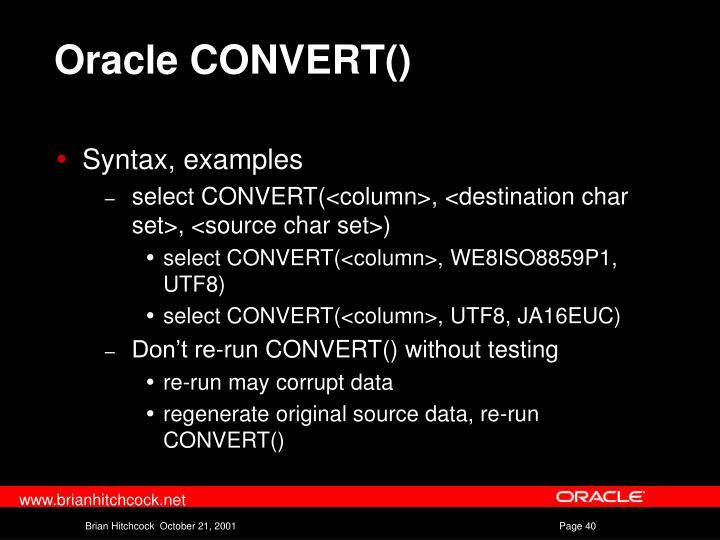 Oracle CONVERT()