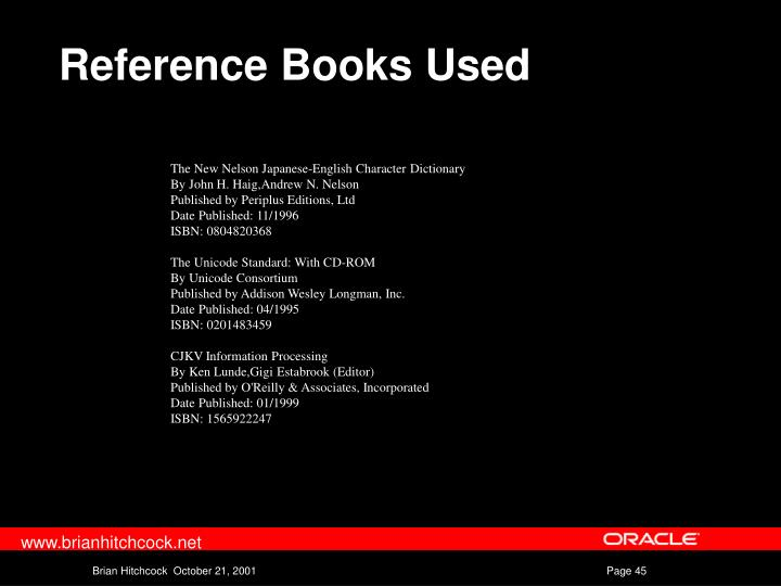 Reference Books Used