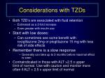 considerations with tzds