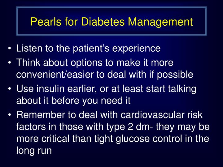 Pearls for Diabetes Management