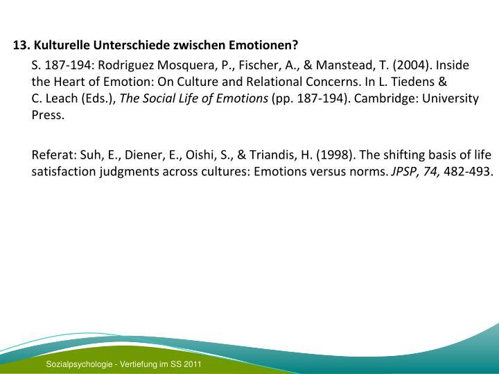 13. Kulturelle Unterschiede zwischen Emotionen?