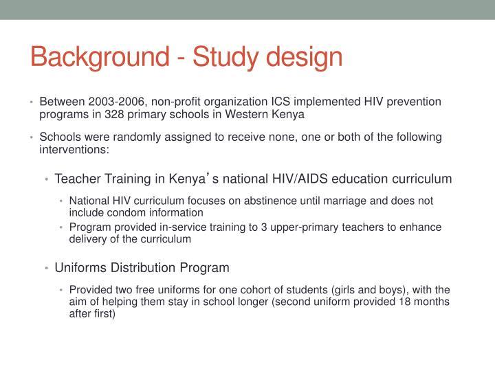 Background - Study design