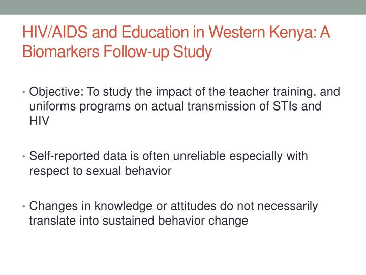 HIV/AIDS and Education in Western Kenya: