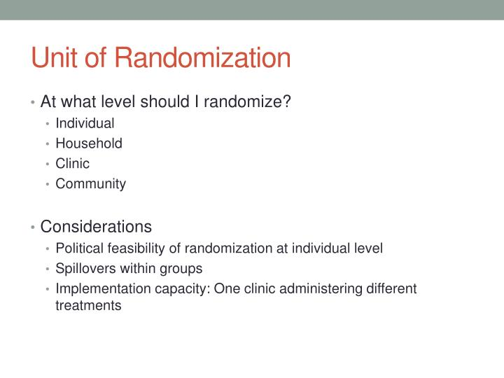 Unit of Randomization