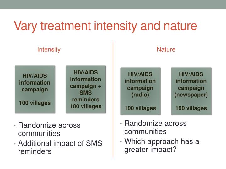 Vary treatment intensity and nature