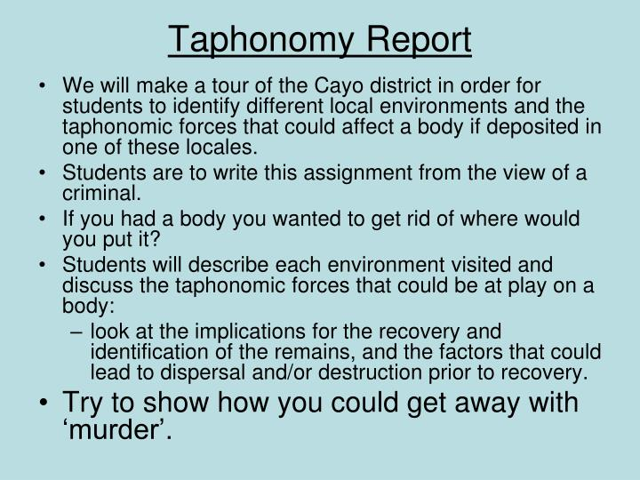 Taphonomy Report