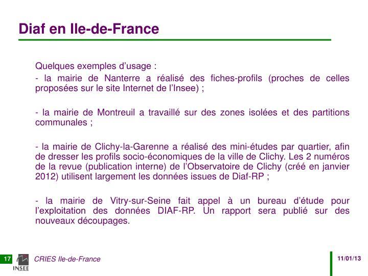 Diaf en Ile-de-France