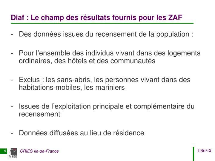 Diaf : Le champ des résultats fournis pour les ZAF