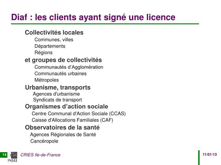 Diaf : les clients ayant signé une licence
