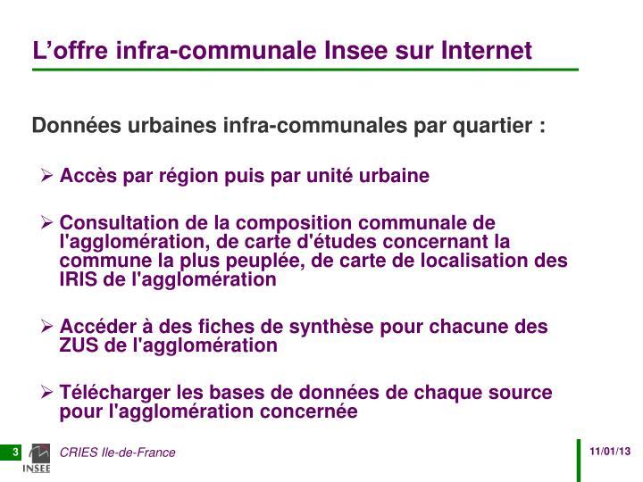 L'offre infra-communale Insee sur Internet