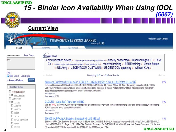 15 - Binder Icon Availability When Using IDOL