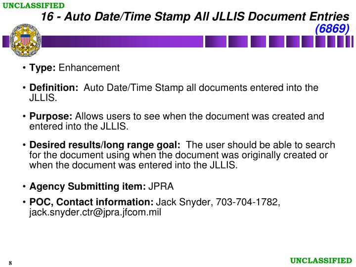 16 - Auto Date/Time Stamp All JLLIS Document Entries