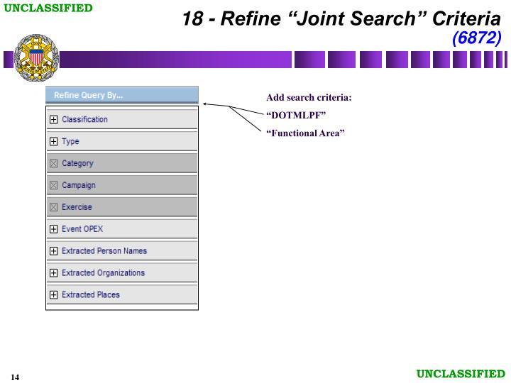 """18 - Refine """"Joint Search"""" Criteria"""