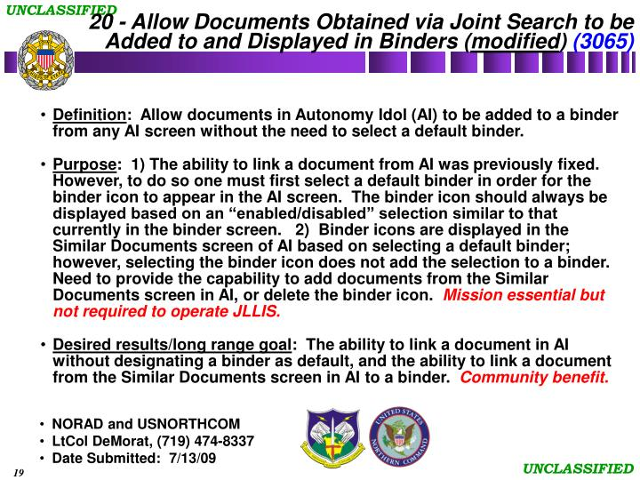 20 - Allow Documents Obtained via Joint Search to be Added to and Displayed in Binders (
