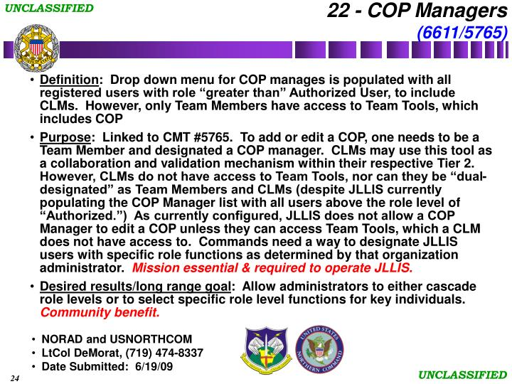 22 - COP Managers