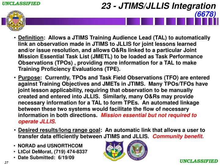 23 - JTIMS/JLLIS Integration