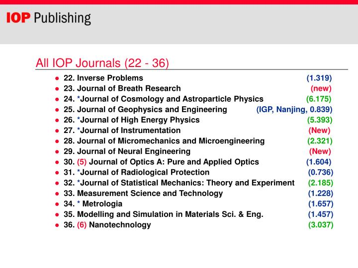 All IOP Journals (22 - 36)