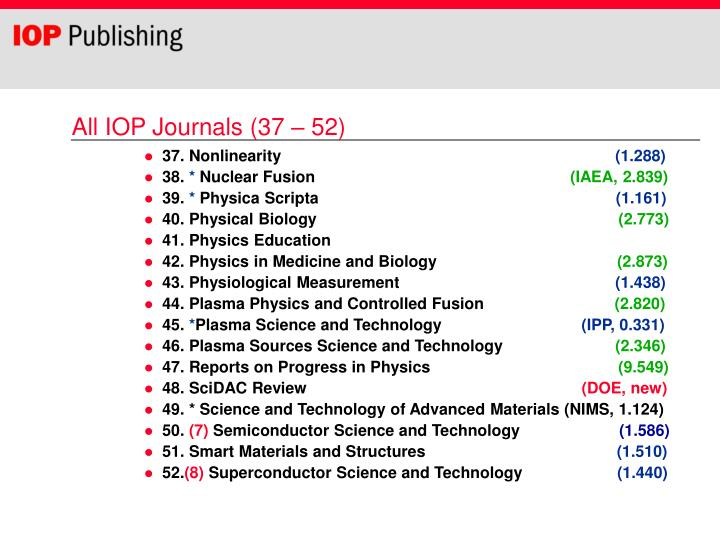 All IOP Journals (37 – 52)