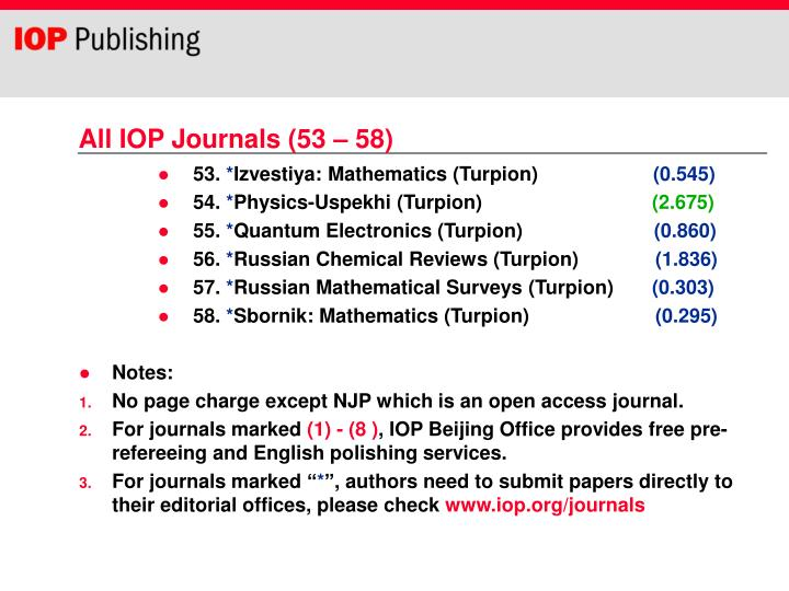 All IOP Journals (53 – 58)